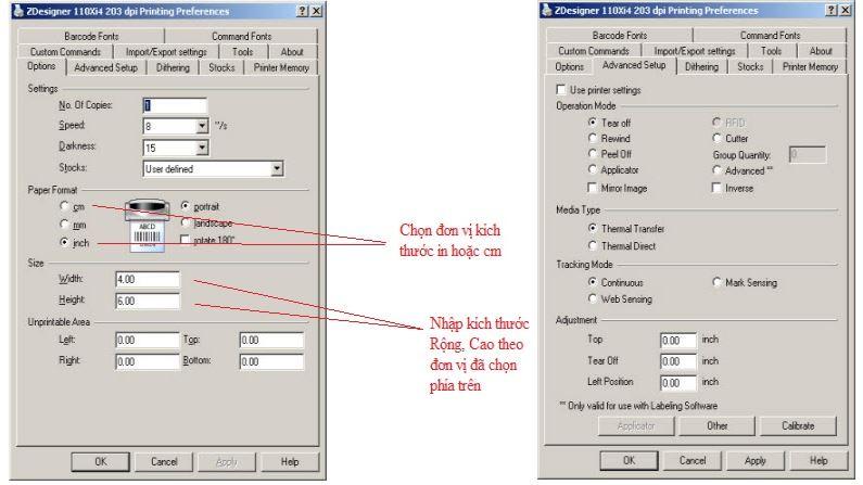 Cách sửa lỗi máy in mã vạch zebra không nhận giấy & cài đặt kích